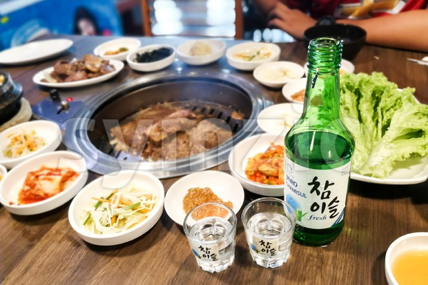 Kuala Lumpur, Malaysia, June 26, 2017:  Jinro Chamisul Soju has been the world's best-selling soju for 12 consecutive years and has earned numerous Stock Photo