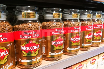 KUALA LUMPUR, Malaysia, June 25, 2017: Moccona is a brand of coffee produced by the Dutch corporation Douwe Egberts.  Currently known as JACOBS DOUWE Stock Photo