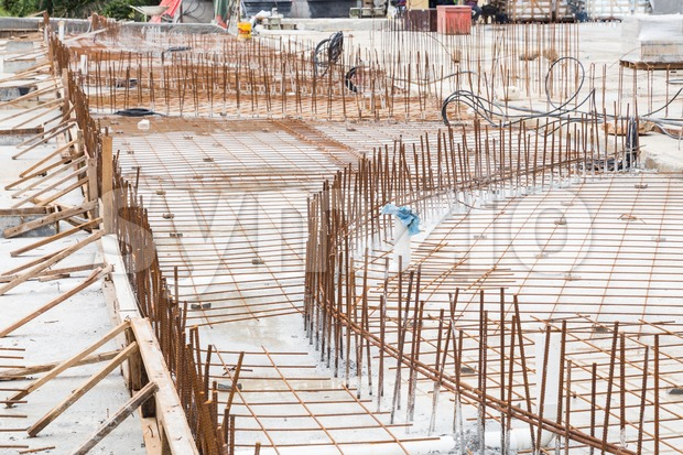 Concrete metal mesh rebar at construction site for floor foundation Stock Photo