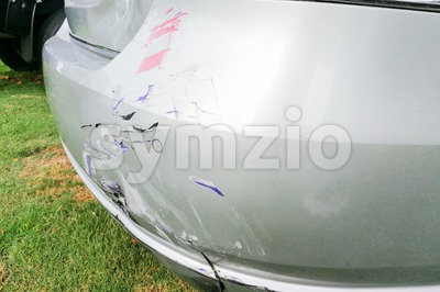 Minor dent scratches on bumper of car involved in accident Stock Photo