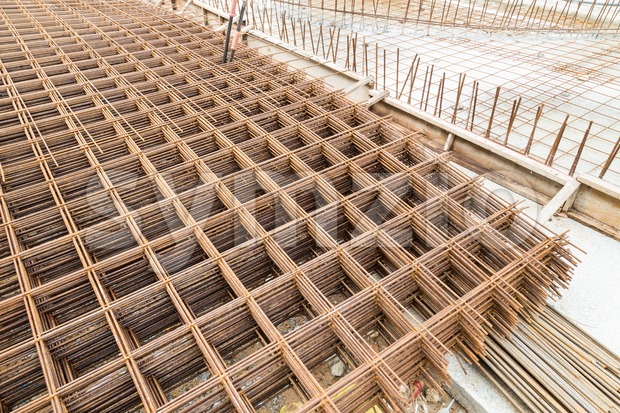 Concrete metal mesh reinforcement at construction site Stock Photo