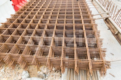 Concreate metal mesh reinforcement at constructiion site Stock Photo