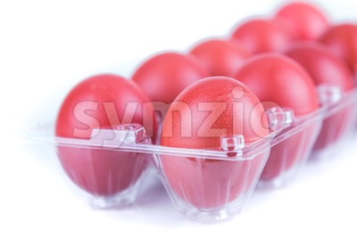Selectivve focus on red color eggs for festive greetings gift Stock Photo