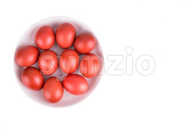 Red color eggs on bowl for festive and religious purpose Stock Photo