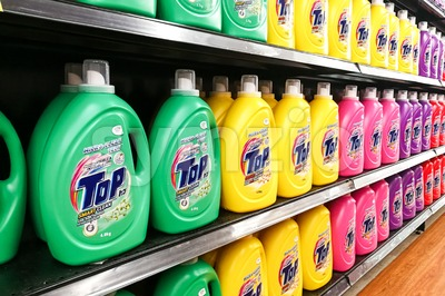 KUALA LUMPUR, Malaysia, August 15, 2017: TOP is the leading Japanese brand liquid detergent from Lion Corporation Japan.  Market challenger in liquid Stock Photo