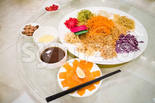Yee Sang raw salmon fish, Malaysia Chinese New Year delicacy Stock Photo