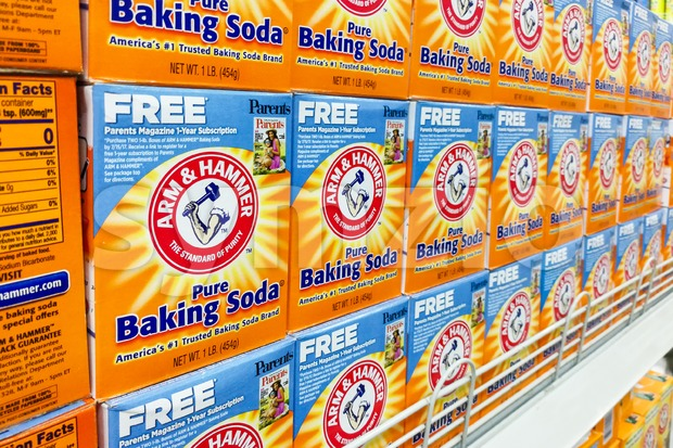 KUALA LUMPUR, Malaysia, August 25, 2017: Arm & Hammer Baking Soda is the trademark of Church & Dwight Co., Inc.  Block displayed in Stock Photo