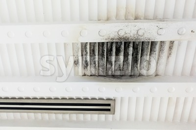 Unhygienic and ugly moldy plaster ceiling due to leakage dampness Stock Photo