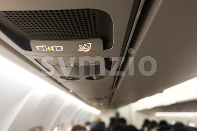 Air cabin no electronics and fasten seat belt signage Stock Photo