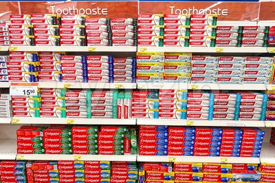 KUALA LUMPUR, Malaysia, September 10, 2017:  Colgate toothpaste is the market leader in the Malaysia toothpaste market with more than 50% market share Stock Photo