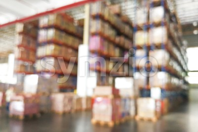 De-focused warehouse racks with inventory Stock Photo