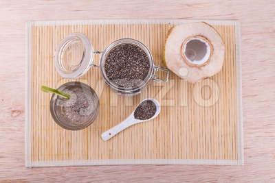 Coconut chia seed juice with hydrating coconut water, refreshing lime Stock Photo