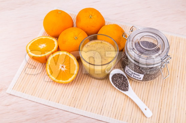 Chia seeds with fresh orange juice, healthy and nutritious anti-oxidant superfood drinks