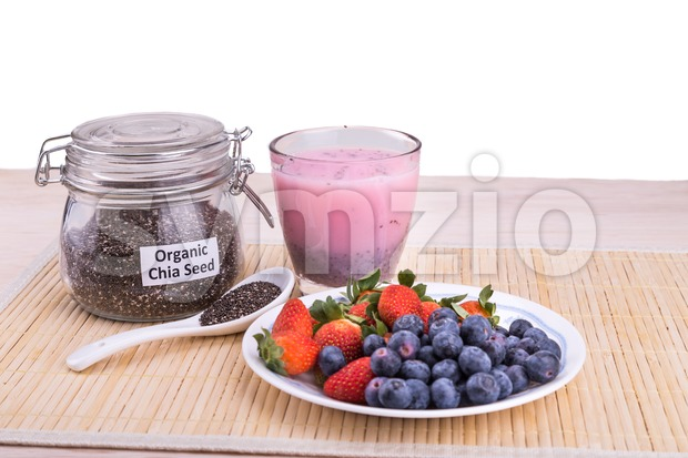 Chia seeds with fresh berries juice, healthy nutritious anti-oxidant superfood drinks