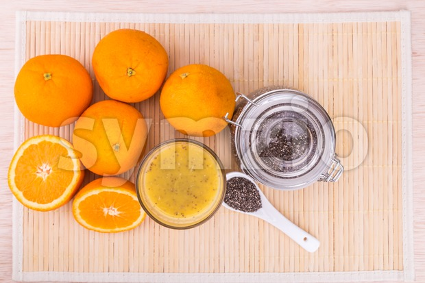 Chia seeds with fresh orange juice, healthy nutritious anti-oxidant drinks Stock Photo