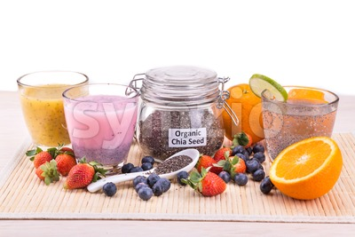 Chia seeds with fresh fruits juice, healthy nutritious anti-oxidant drinks Stock Photo