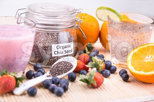 Chia seeds with fresh fruits juice, healthy nutritious anti-oxidant superfood drinks