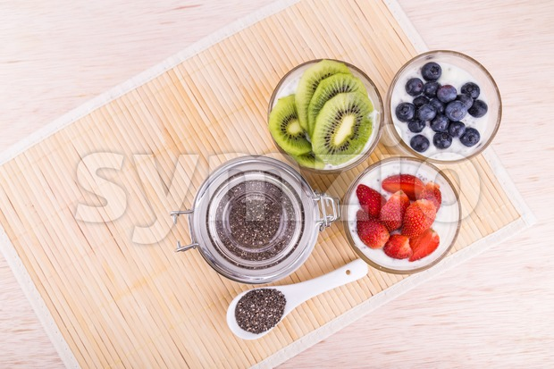 Chia seeds pudding with fresh fruits, healthy nutritious anti-oxidant superfood, ideal for breakfast