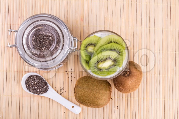 Chia seeds pudding with kiwi fruits, healthy nutritious anti-oxidant superfood, ideal for breakfast