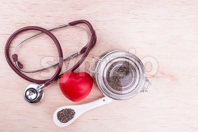 Chia seeds high in anti-oxidant superfood good for heart health Stock Photo