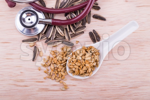Sunflower seeds are healthy snacks rich in vitamins and minerals Stock Photo