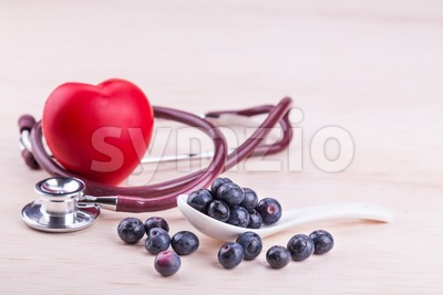 Blueberries rich in anti-oxidants and flavonoid anthocyanin has health benefits. Stock Photo