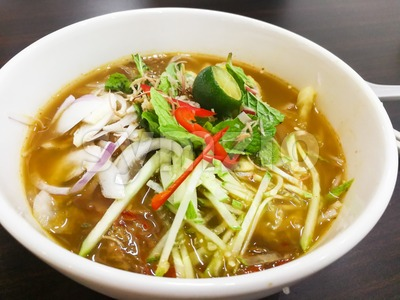 Close-up on Penang Asam Laksa, popular Malaysian cuisine Stock Photo