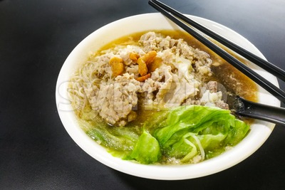 Close-up on Vermicelli pork noodle soup popular in Penang Malaysia Stock Photo