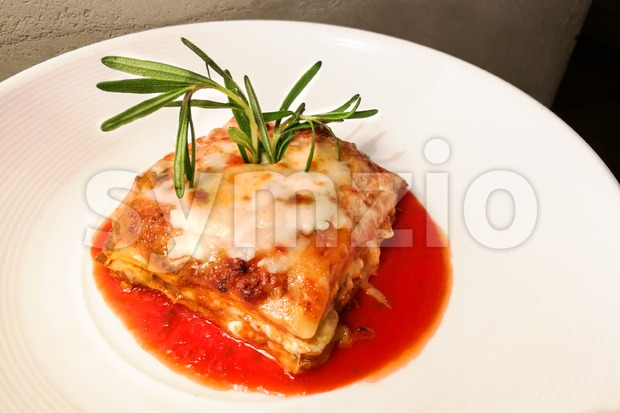 Closeup of fine dining italian lasagna Stock Photo