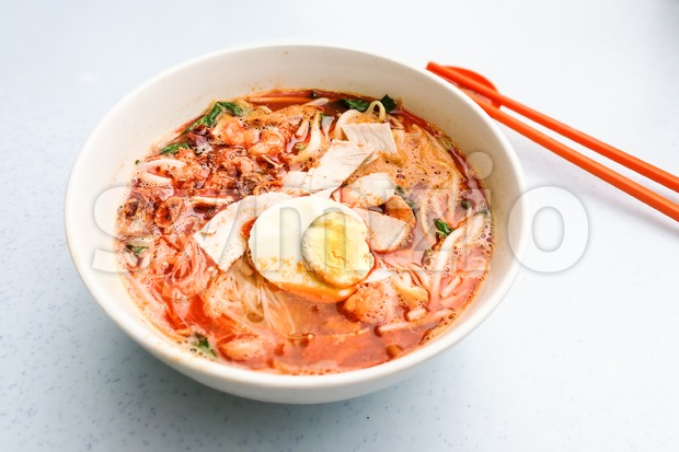 Penang popular prawn mee noodles with eggs, and small shrimp Stock Photo