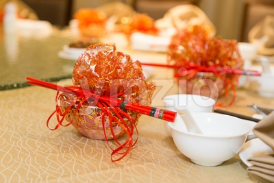 Chinese longevity bowl door gift set during birthday dinner celebration Stock Photo