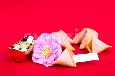 Fortune cookies, decorative gold nuggets, plum blossom flowres red background Stock Photo