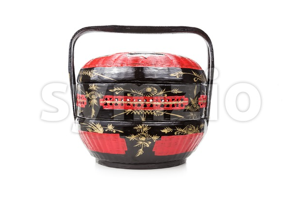 Traditional Bakul Siah Wedding Basket used by Peranakan Chinese Stock Photo