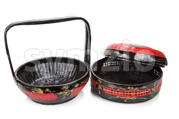Traditional tiered Bakul Siah Wedding Basket used by Peranakan Chinese Stock Photo