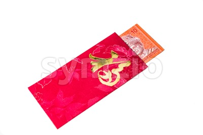 Red packet with Good Fortune character contains Malaysia Ringgit currency Stock Photo