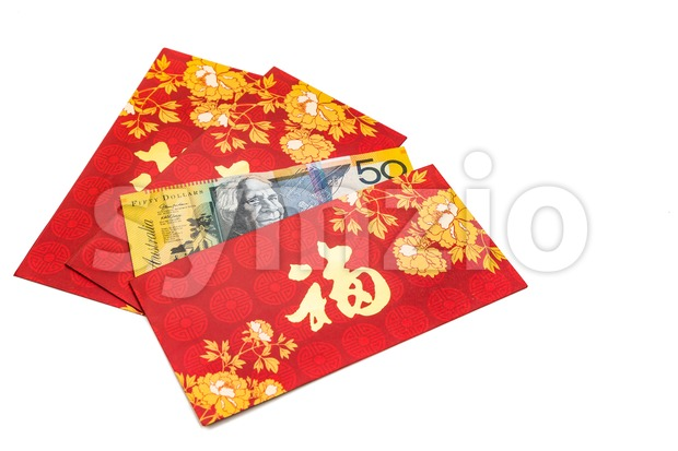 Hung Bao or red packet with Good Fortune Chinese character filled with Australian Dollar currency