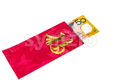Red packet with Good Fortune character contains Australian Dollar  currency Stock Photo
