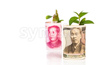 Analogy of Japanese Yen conceptual growth ahead of China Yuan Stock Photo
