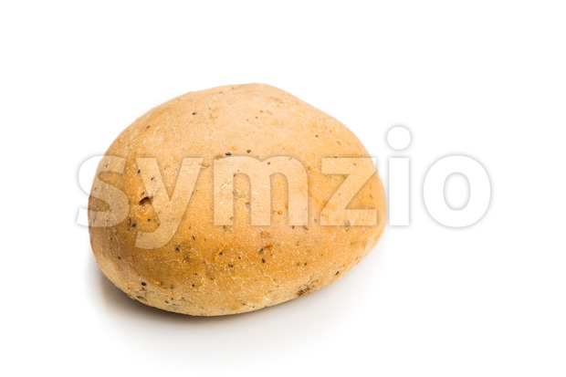 Freshly baked healthy gluten-free delicious wholemeal buns with herbs on white background