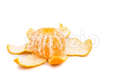 Peeled sweet and juicy mandarin oranges on white background Stock Photo