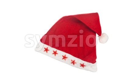 Beautiful red Christmas hat on white background. Stock Photo