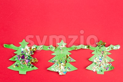 Christmas background with cute fir tree artwork. Stock Photo