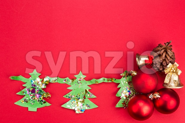 Christmas background with cute fir tree artwork and ornaments