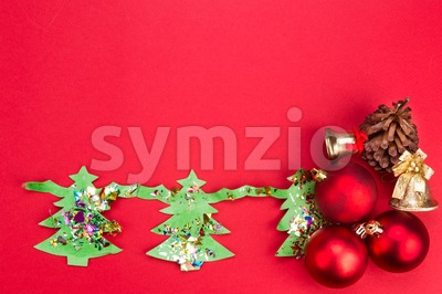 Christmas background with cute fir tree artwork and ornaments. Stock Photo