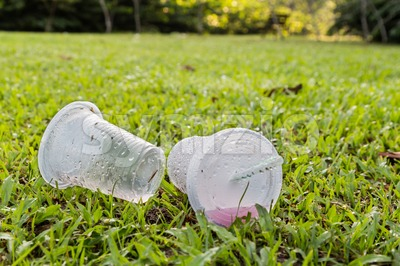 Environmental unfriendly non-biodegradable PVC cup litter in public park Stock Photo