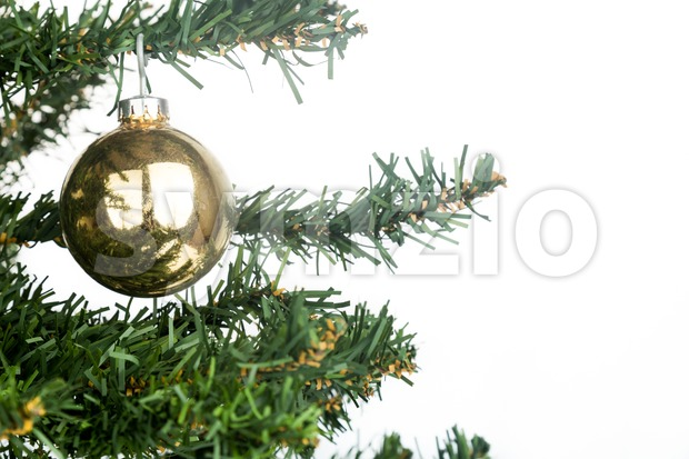 White Christmas background with fir tree and gold ornament. Stock Photo