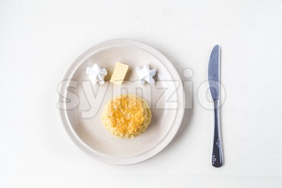 Simple and delicious English scones set with butter and cream Stock Photo