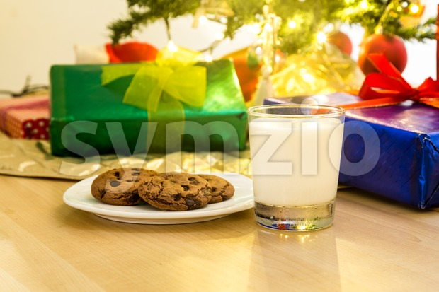 Milk and cookies for Santa Clause under Christmas tree