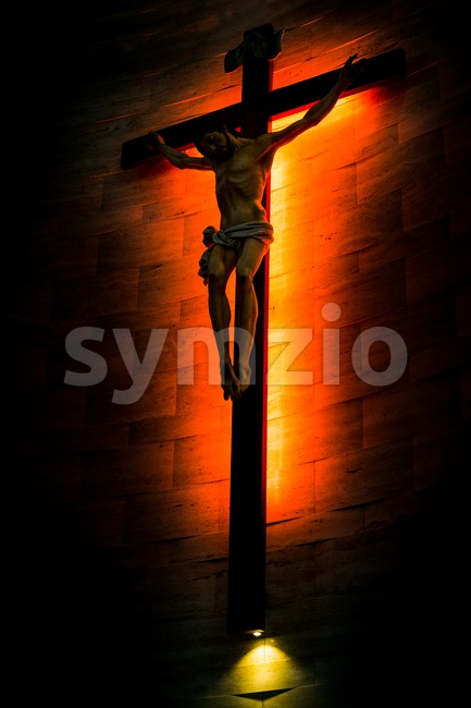 Crucifix of the Catholic Christian in silhouette. Stock Photo