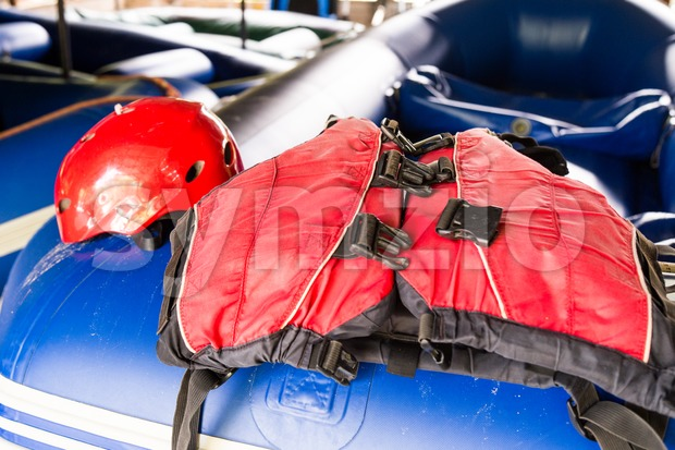 Safety helmet and life jacket, essential safety kit for canoeing and kayaking activities